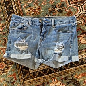 Mid-Rise Distressed Denim Jean Shorts